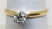 14KT YELLOW GOLD DIAMOND RING FEATURES .30 CTS