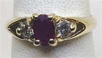 14KT YELLOW GOLD RUBY AND DIAMOND RING 2.20 GRS