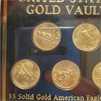 US FIVE $5 SOLID GOLD AMERICAN EAGLE COINS (23)