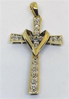 10KT YELLOW GOLD DIAMOND CROSS PENDANT 2.20 GRS
