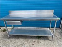 """Custom HS All S/S Work Table W/ Drawer & 6"""" Backsp"""