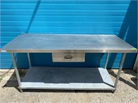 "72"" x 30"" S/S Worktable W/ Drawer & Undershelf"