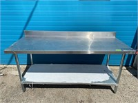 """72"""" x 30"""" S/S Worktable W/ 4"""" Backsplash & Can Ope"""