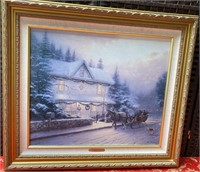 N - SIGNED THOMAS KINKADE VICTORIAN CHRISTMAN ART
