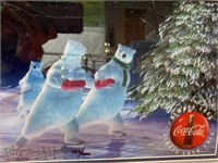 N - NUMBERED PAIR OF COCA~COLA POLAR BEAR WALL ART