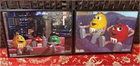 N - LOT OF 2 NUMBERED/FRAMED M&M WALL ART