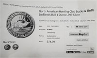 N. AMERICAN HUNTING BUCKS & BULLS 1 OZ SILVER (30)