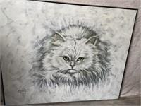 11 - SIGNED FRAMED WHITE CAT WALL ART