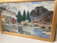 11 - BEAUTIFUL FRAMED LAKE SCENE WALL ART