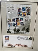 11 - FRAMED 1940'S WORLD WAR II STAMPS