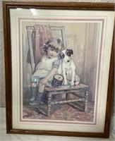 11 - LOT OF 2 FRAMED GIRL W/ HER DOG WALL ART