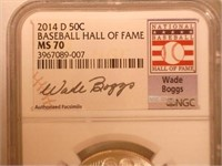 2014 Comm. 50c, Silver 50 Cents Baseball Hall Fame