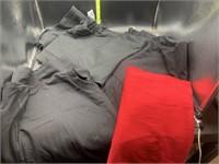 2 black tshirts, 1 red, 1 black long sleeve