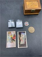 Coca Cola advertisement, lighters, and more