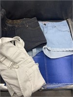 Jean shorts, skirt and jean overalls. all size 5