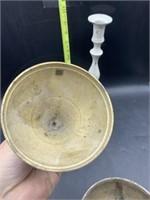 2 brass candle stick holders & 1 brass?? Bowl