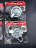 2 3 1/2in clothesline pulley & 2 tighteners - all