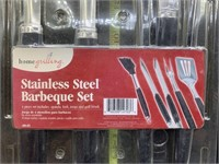 Stainless steel barbecue set - new