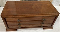 11 - WOODEN 3 DRAWER JEWELRY BOX