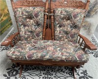 333 - BEAUTIFUL CARVED WOOD DOUBLE ROCKING CHAIR