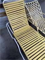 714 - PAIR OF 2 YELLOW PATIO LOUNGE CHAIRS