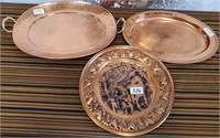 335 - LOT OF 3 COPPER TRAYS