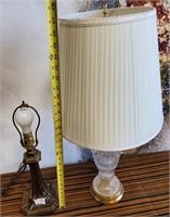 335 - CRYSTAL LAMP & METAL LAMP NO SHADE
