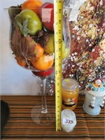 333 - LARGE GLASS W/PLASTIC FRUIT & CANDLES
