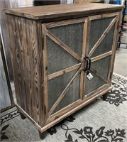 43 - NEW WMC RUSTIC WOOD 2 DOOR CABINET ($239.95)