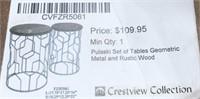 NEW WMC METAL & RUSTIC WOOD SET OF TABLES($109.95)