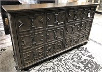 NEW WMC GREY 4 DOOR PATTERN SIDEBOARD ($429.95)