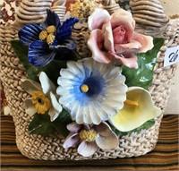 26 - BEAUTIFUL CERAMIC BASKET W/FLOWERS
