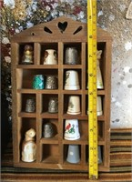 338 - SHELVING UNIT & THIMBLE COLLECTION - AS IS