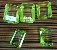 342 - LOT OF 5 GREEN DIAMOND CRYSTAL PAPERWEIGHTS