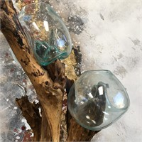342 - WOOD FLOOR STAND W/MELTED GLASS GLOBES