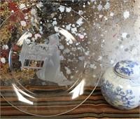 89 - VINTAGE CHINESE GINGER JAR & ETCHED GLASS PLA