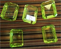 342 - LOT OF 5 GREEN CRYSTAL PAPERWEIGHTS (B)