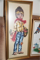 3 EMBROIDERED FRAMED PICTURES, CHILDS ROOM - READ