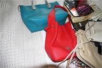LOT OF FASHIONABLE BAGS - 6 HANDBAGS+ MANY WALLETS