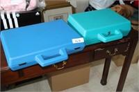 EMPTY PLASTIC CASES - 16X12X3 BLUE; GREEN 13X10X4