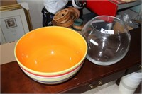 "2 LARGE MULTI-PURPOSE BOWLS; COLORFUL BOWL = 13"" D"