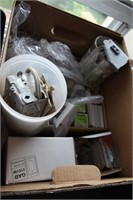 BOX OF LIGHTING RELATED HARDWARE, MANY NEW ITEMS