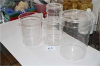 ACRYLIC CLEAR STACKABLE 4-CANISTER SET, SEE NOTES