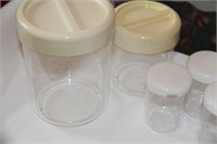 6 FOOD CONTAINERS, 2 LARGER CLEAR ACRYLIC STACKABL