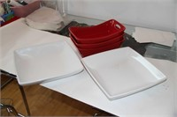 CERAMIC WARE - 2 WHITE, 3 RED SERVING DISHES
