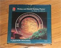 MICKEY & MINNIE HOLIDAY PLATTER, NEW