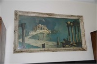 BEAUTIFULLY FRAMED PRINT OF GREEK RUINS, W/ GLASS