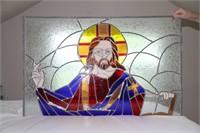 "STAINED GLASS ART, WINDOW, 39.75"" X 25"""