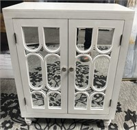 43 - NEW WMC WHITE MIRRORED 2 DOOR CABINET