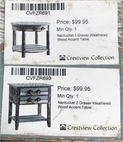 43 - NEW WMC PAIR OF 1 & 2 DRAWER ACCENT TABLES